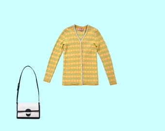 Oscar de la Renta Sweater Set in Mustard and Teal size small