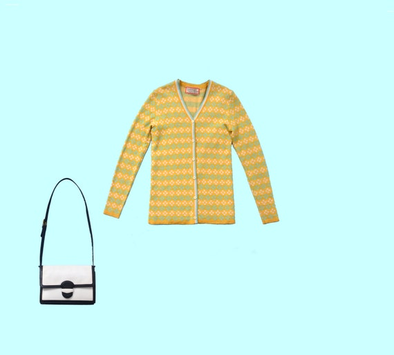 Oscar de la Renta Sweater Set in Mustard and Teal size S