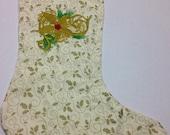 Golden Poinsettia Embroidered Stocking