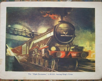 "Steam Train Illustration ""The Night Scotsman"" locomotive LNER 1940s"
