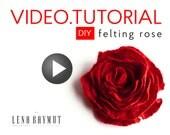 50% SALE Video tutorial felting flower rose lesson how to make wet felting technique felt red felted rose