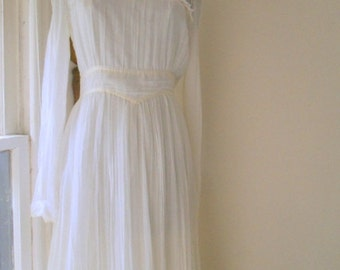 Vintage 70's Bohemian romantic gauze and lace Wedding Dress