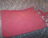 Pair of Coral Chenille Pillow Shams with tie opening