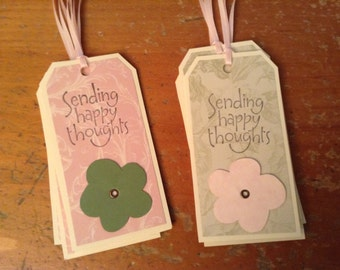 Gift Tags, Sending Happy Thoughts, Set of 8,  Hang Tags, pale pink and green