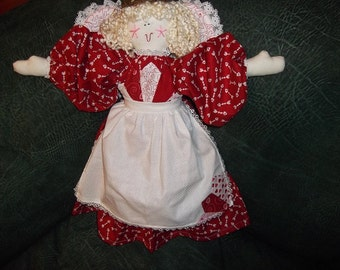 Soft Sculpture - Quilted Angel - Red Hearts and Arrows