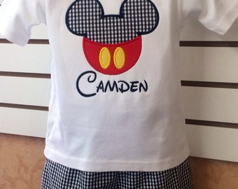 Personalized custom monogram Disney Mickey Mouse applique shirt with Black & White Gingham check Shorts