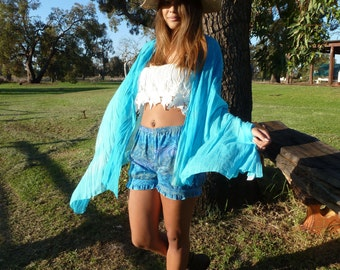 Womens Shorts, Blue Shorts, Womens Ruffle Shorts, Blue Aztec Shorts, Boho Shorts,