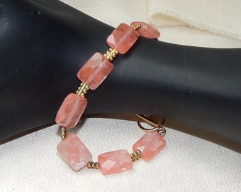 Strawberry quartz and gold bracelet Mothers day Bracelet pink bracelet pink and gold bracelet cocktail bracelet birthday bracelet