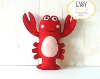 Lobster Sewing Pattern, Stuffed Lobster Pattern, Plush Lobster Sewing Pattern, Lobster Softie, Instant Download PDF