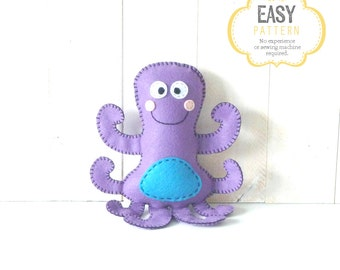 Octopus Stuffed Animal Pattern, Octopus Hand Sewing Pattern, Plush Octopus Sewing Pattern, Instant Download PDF