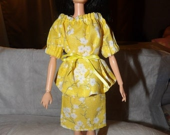 Modest yellow floral Peasant top & skit set for Fashion Dolls - ed677