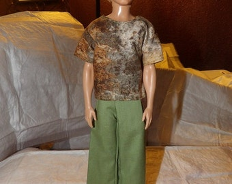 Multi-colored sponge print shirt & sage green pants for Male Fashion Dolls - kdc61