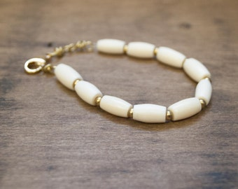 Simple Bone Brass Bracelet - June - Boho Chic Jewelry for the Eclectic Soul