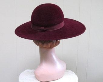 Vintage 1970s Hat / 70s YVES ST LAURENT Maroon Wool Wide Brim Hat