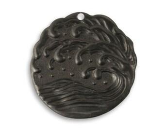 2pcs Vintaj Arte Metal Black  25.5mm Ocean Surf Pendant - Art Metal Jewelry Findings Craft Supplies Tools