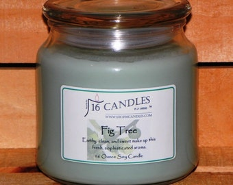 Fig Tree Soy Candle ~ 16 Ounce Jar ~ Fresh Fragrance ~ Earthy Scent ~ 16 Candles by J.P. Lawrence