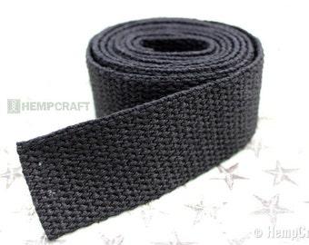 Black Hemp Webbing, 1.5 Inch Fiber Strap, 4ft Length