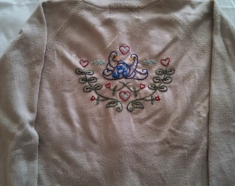 Upcycled Embroidered Sweater, Love Birds