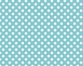 Riley Blake Small Dot in Aqua Knit Fabric, by the half yard or yard