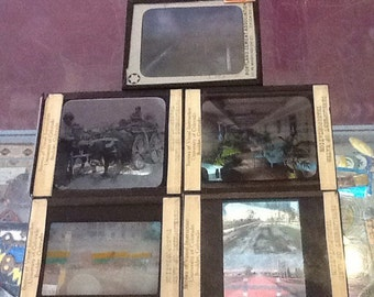 Collection of 5 Glass Slides, Transportation