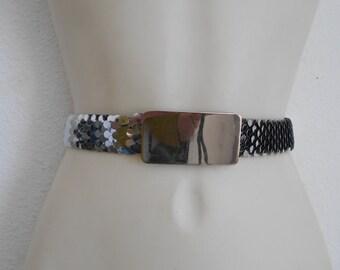 Vintage fish scale stretch metal belt Shiny silver tone cinch belt