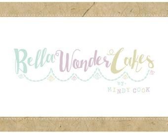 Custom Logo Design - PreDesigned Logo - PreMade Logo - Vector Logo - OOAK Logo - BELLA Wonder CAKES  Logo Design - Cute Logo - Bakery Logo