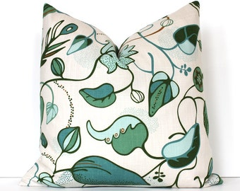 Green and Blue Botanical print Decorative Pillow Cover Accent floral leaves bold spring natural pale blue forest fern cream teal turquoise