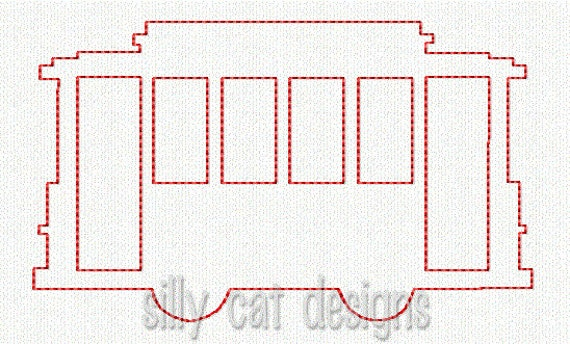 New Orleans Street Car Outline Embroidery Design