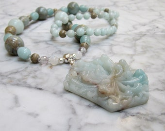 Natural Aqua Stone and Crystal Throat Chakra Balancing Necklace with Hand Carved Amazonite Chrysanthemum Mum Floral Pendant