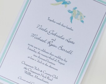 Sea Turtle Design Wedding Invitation, Pocketfold invitation, nautical invitation, beach invitation, custom invitation, cape cod invitation