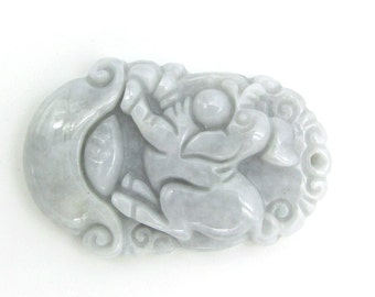 Natural Jadeite Gem Chinese Zodiac Fortune Pig Talisman Pendant 34mm*22mm  Cy152