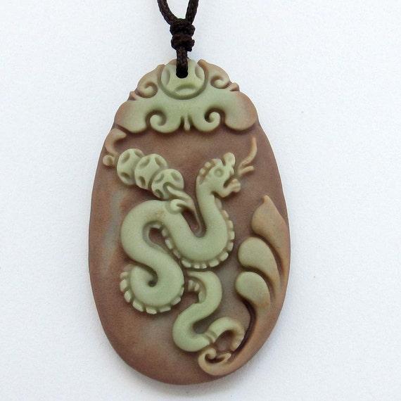 Zodiac Snake Boa Chinese Fortune Talisman Pendant Two Layer Natural Stone 40mm*24mm  ZP060