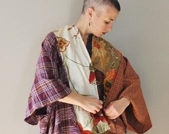CUSTOM Upcycled KIMONO Tunic Wrap/Petite to Plus Size Boho Kimono Wrap with Kanji