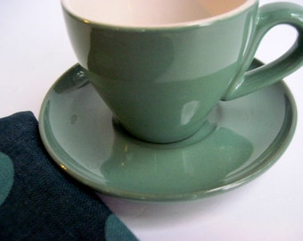 Sage Demitasse Cup, Cup and Saucer, Sage Coffee Cup, Green Tea Cup, French Country, Demitasse Coffee Cup, Green Cup and Saucer, Demitasse