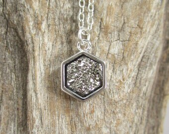 Silver Druzy Necklace Geometric Titanium Druzy Quartz Bezel Set