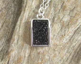 Black Druzy Necklace Rectangular Titanium Druzy Quartz Bezel Set
