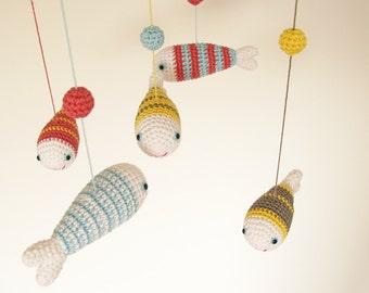 Crib Baby Mobile, Nursery Mobile, Baby Girl Mobile, Ceiling Mobile, Nursery Decor, Baby Room Decor, Hanging Mobile, Crochet Fish Mobile