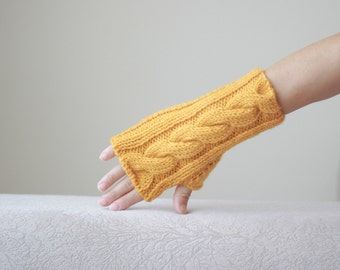 Mustard Women fingerless gloves, Mustard Knit mittens women, Mustard gloves fingerless, Cable knit gloves