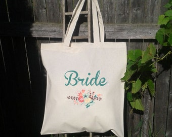 Bride to Be Wedding Tote Bag, Floral Wedding Tote, Thick Canvas Bag