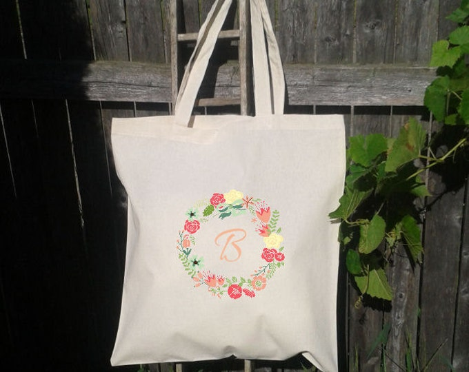 Floral Initial Letter Wreath - Bridesmaid Gift Bags - Welcome Bags -You choose letters- spring Floral Wreath
