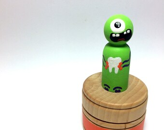 IN STOCK - Maurice the Tooth Monster - Hand Painted Wood Box & Peg Tooth Monster