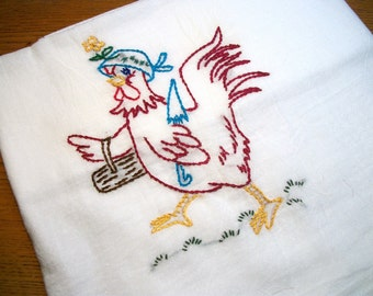 Flour Sack Dish Towel Cotton Dish Towel Shopping Hen Dish Towel Chicken Tea TowelHand Embroidered Dish Towel
