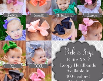 Baby Headband, Baby Bow, Loopy Style, Baby Shower Gift, Baby, Hair Bows, 6 sizes and available in 100+ colors