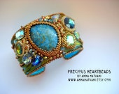 Shibori Silk Bead Embroidery Bracelet Cuff Teal Aquamarine - made to order- Green Lime Gold  Bronze  bead embroidered  - Siren Cuff Shibori