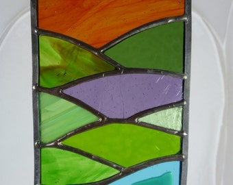 Stained Glass Sunset Over Mountains and Lake Suncatcher with 3D glass