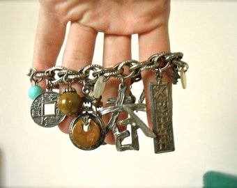 Vintage Charm Bracelet Chinese Buddhist Symbolism Silver Stone Early 90s 1990s Asian Coin