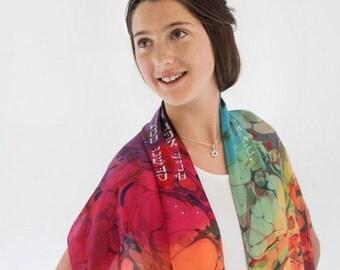 """Tallit for women 14""""x 72""""- silk"""