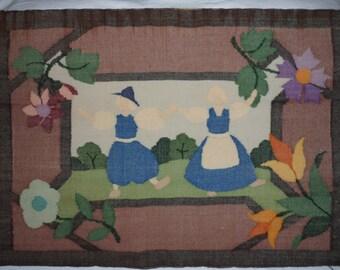 "Antique Dutch woven Linen Fabric Panel 18.75"" x 13.75"""
