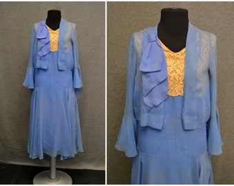 1920s Blue Chiffon and Lace Flapper Dress and Jacket