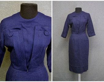 1950s Jerell Jr. Navy Wool Wiggle Dress
